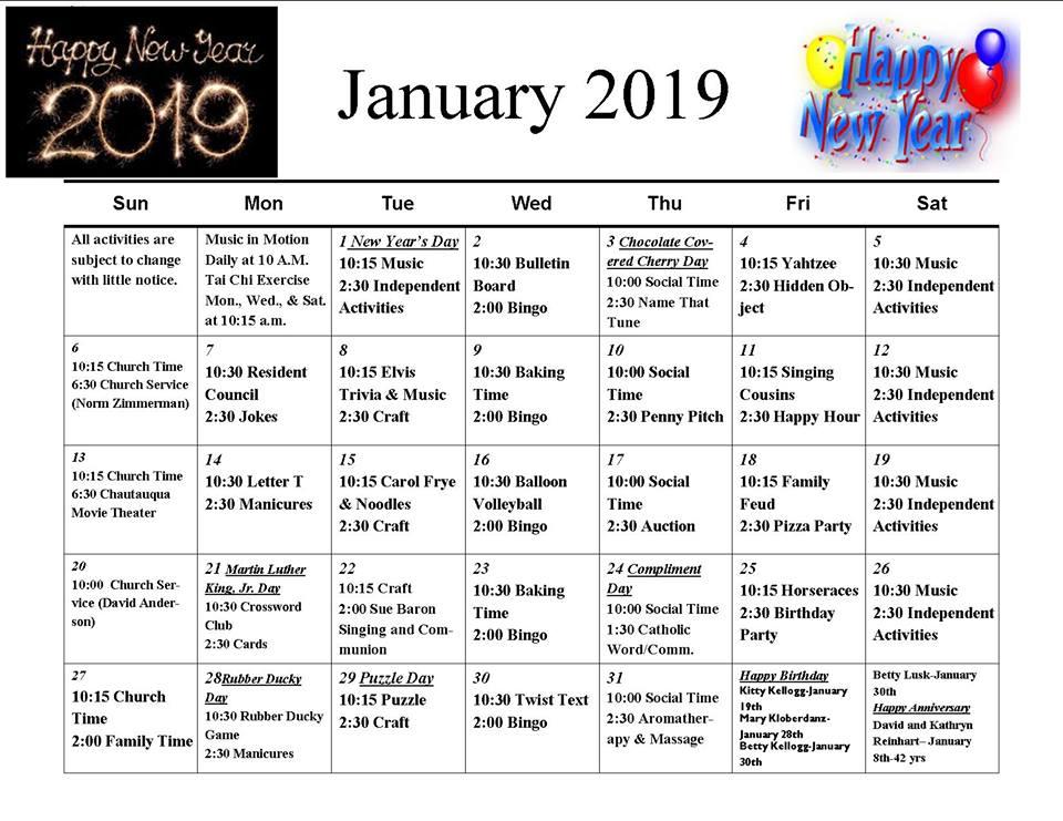 January 2019 Event Calendar - 11th St. Chautauqua Guest Homes