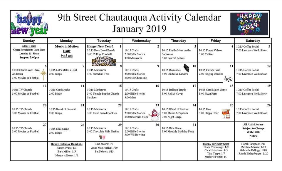 9th Street Newsletter & Calendar (January 2019)