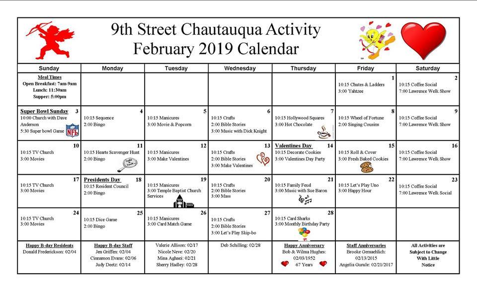 9th Street Calendar February 2019