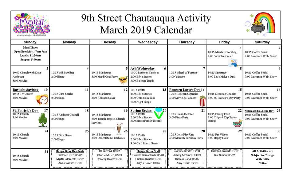 9th Street Calendar March 2019