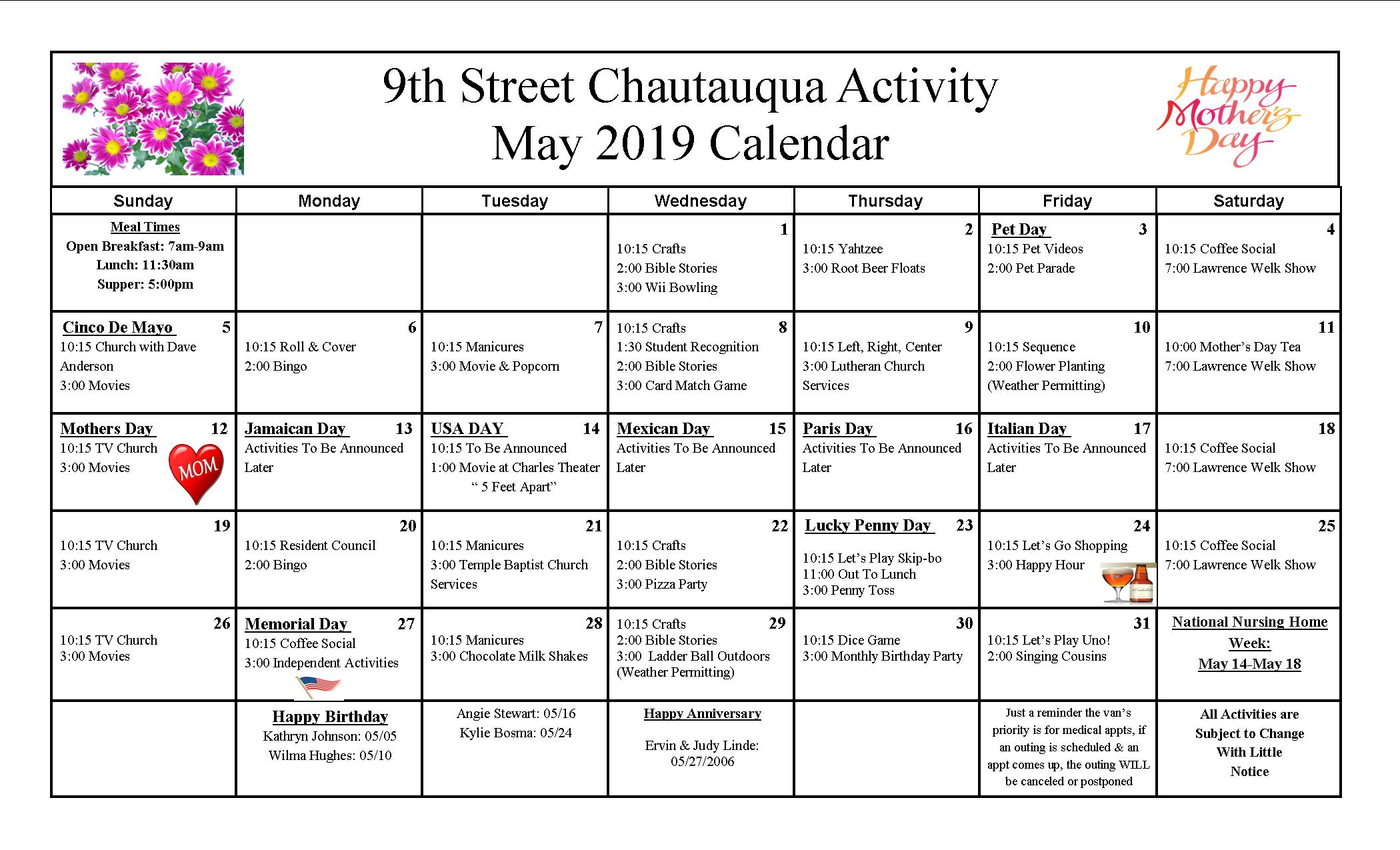 9th Street Activity Calendar May 2019