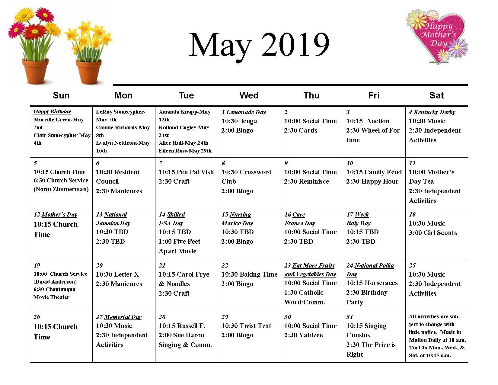11th Street Calendar May 2019