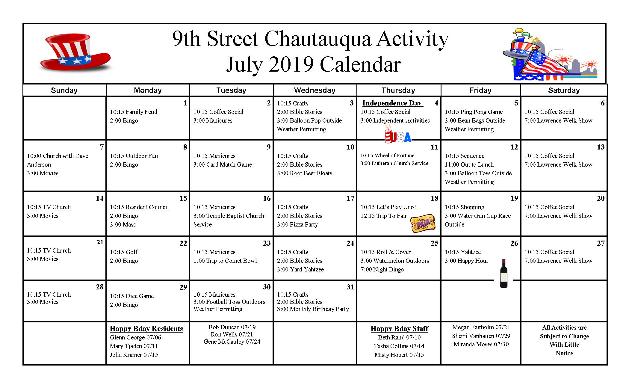 9th Street Activity Calendar July 2019